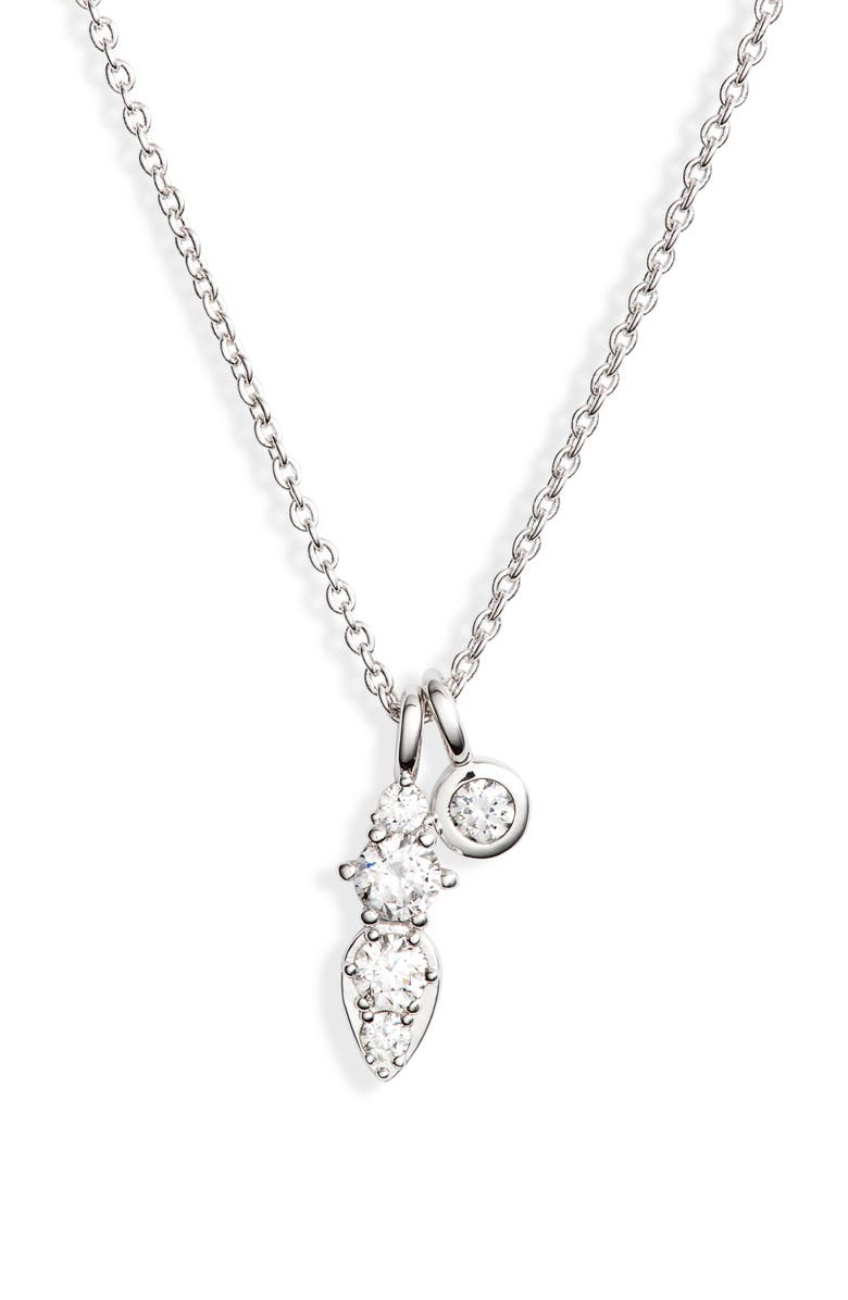 NADRI Double Pendant Necklace, Main, color, RHODIUM