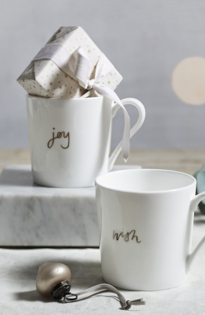 THE WHITE COMPANY Wish & Joy Set of 2 Mugs, Main, color, WHITE