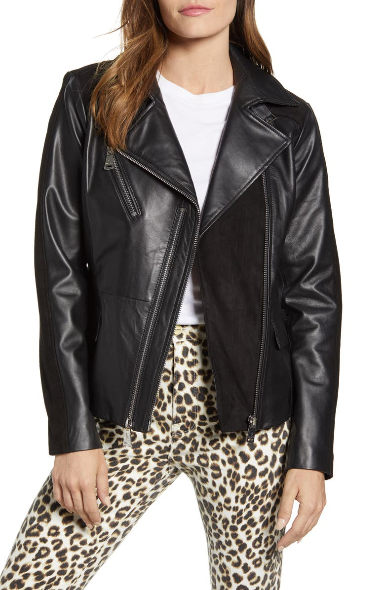 BERNARDO Suede Detail Leather Moto Jacket, Main, color, 001
