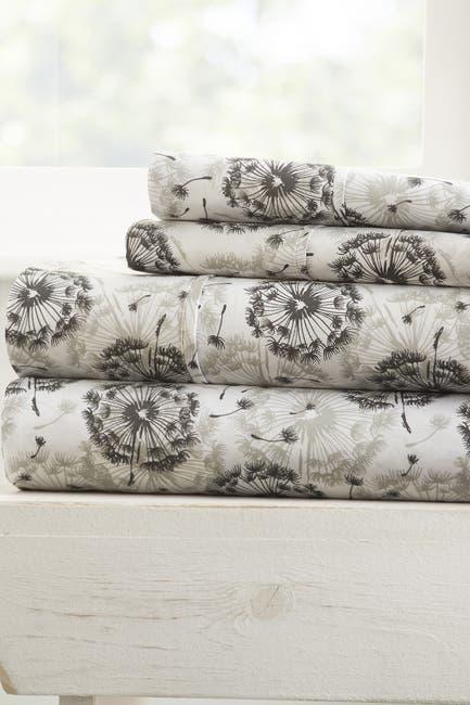Image of IENJOY HOME The Home Spun Premium Ultra Soft Make a Wish Pattern 4-Piece King Bed Sheet Set - Gray