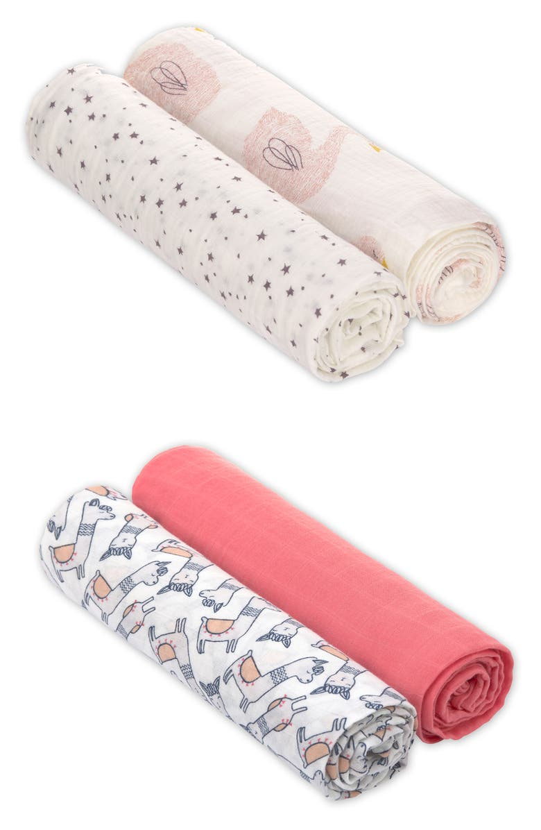 LÄSSIG Heavenly Soft 4-Pack XL Cotton Muslin Swaddles, Main, color, CORAL MULTI