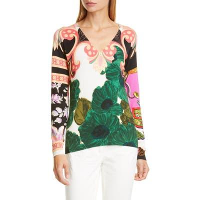 Etro Floral Print Silk Blend Sweater, US / 42 IT - Green