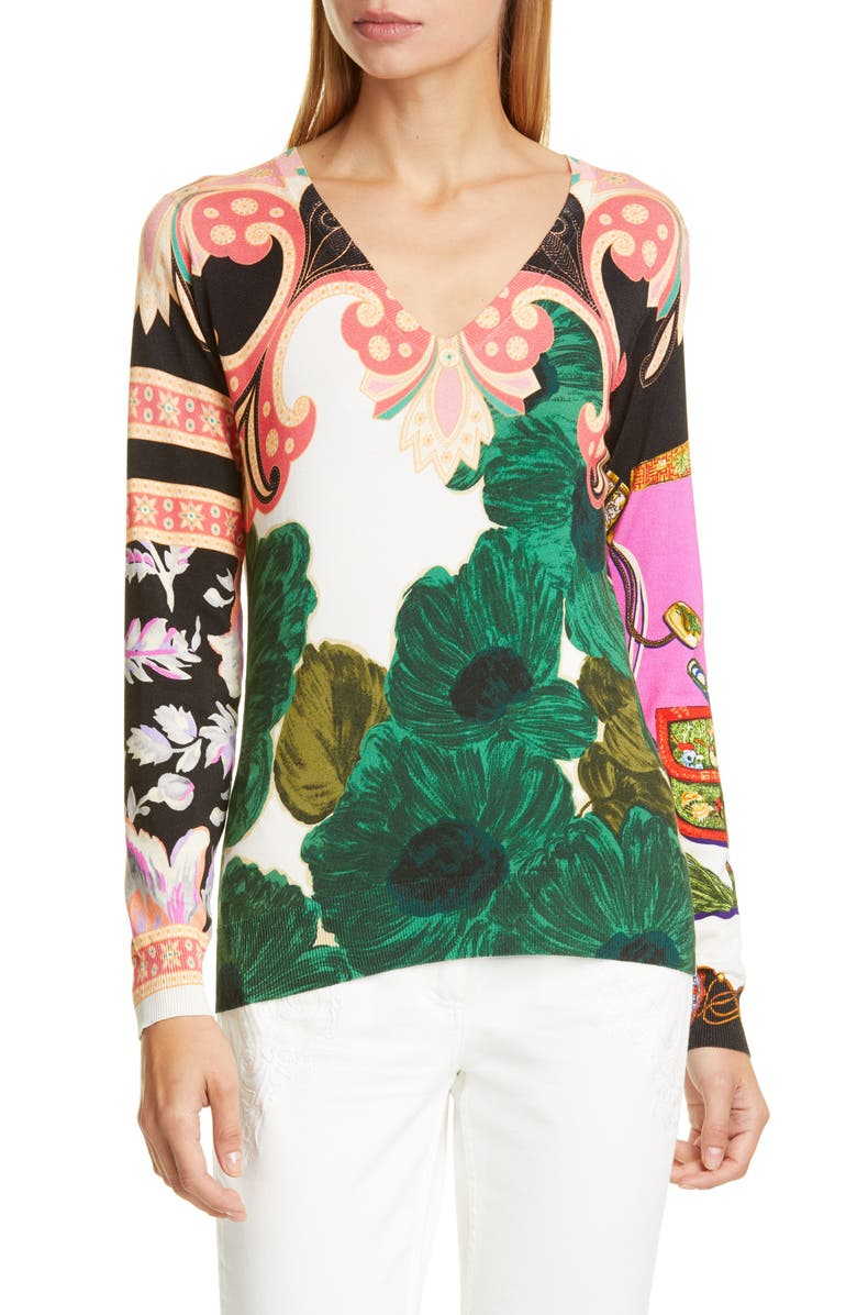 ETRO Floral Print Silk Blend Sweater, Main, color, GREEN