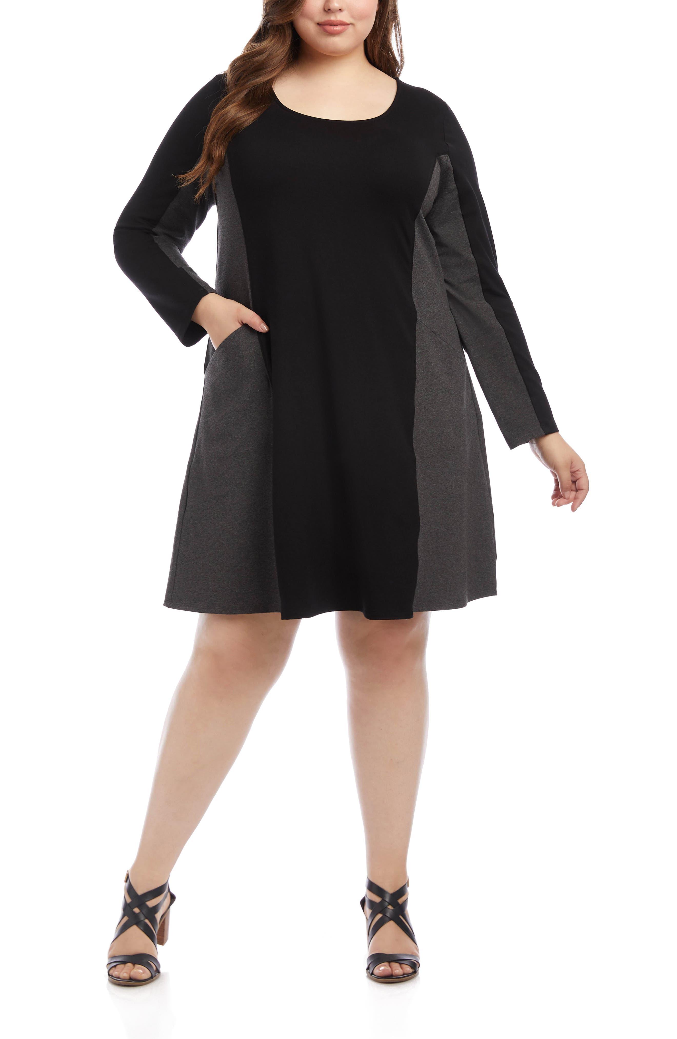 Plus Size Retro Dresses 50s, 60s ,70s, 80s, 90s Plus Size Womens Karen Kane Colorblock Pocket Long Sleeve Dress $89.60 AT vintagedancer.com
