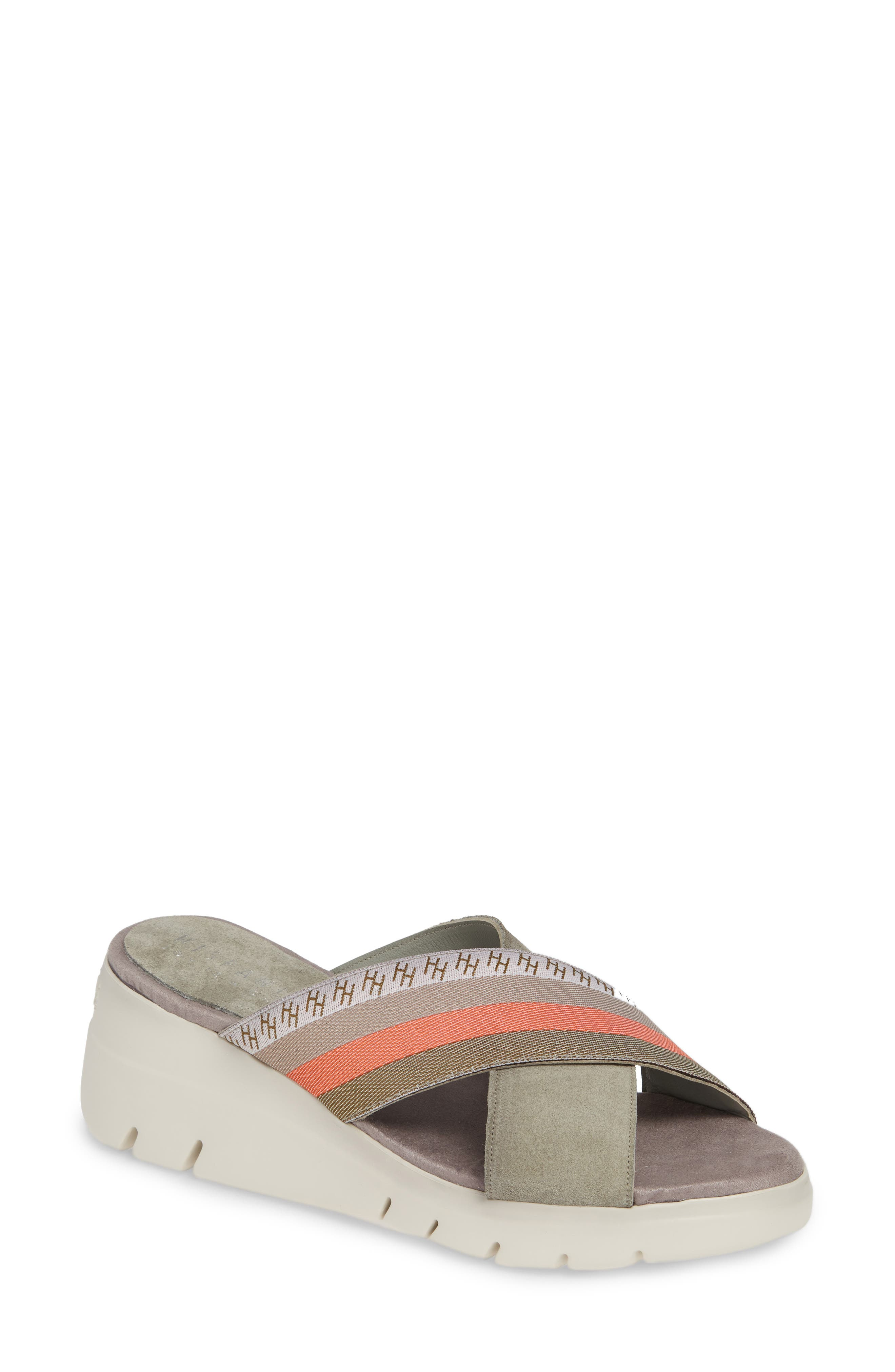 ,                             Magna Wedge Slide Sandal,                             Main thumbnail 1, color,                             WHITE FABRIC