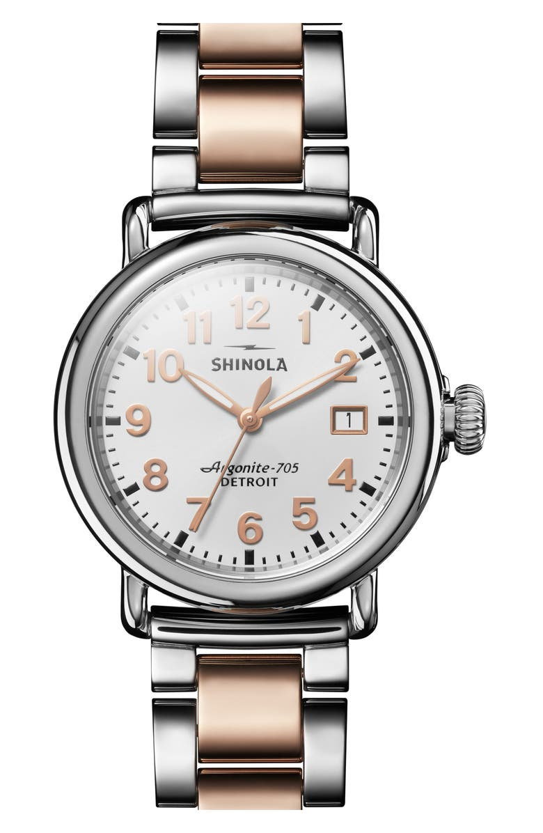 SHINOLA The Runwell Bracelet Watch, 36mm, Main, color, ROSE GOLD/ WHITE/ SILVER