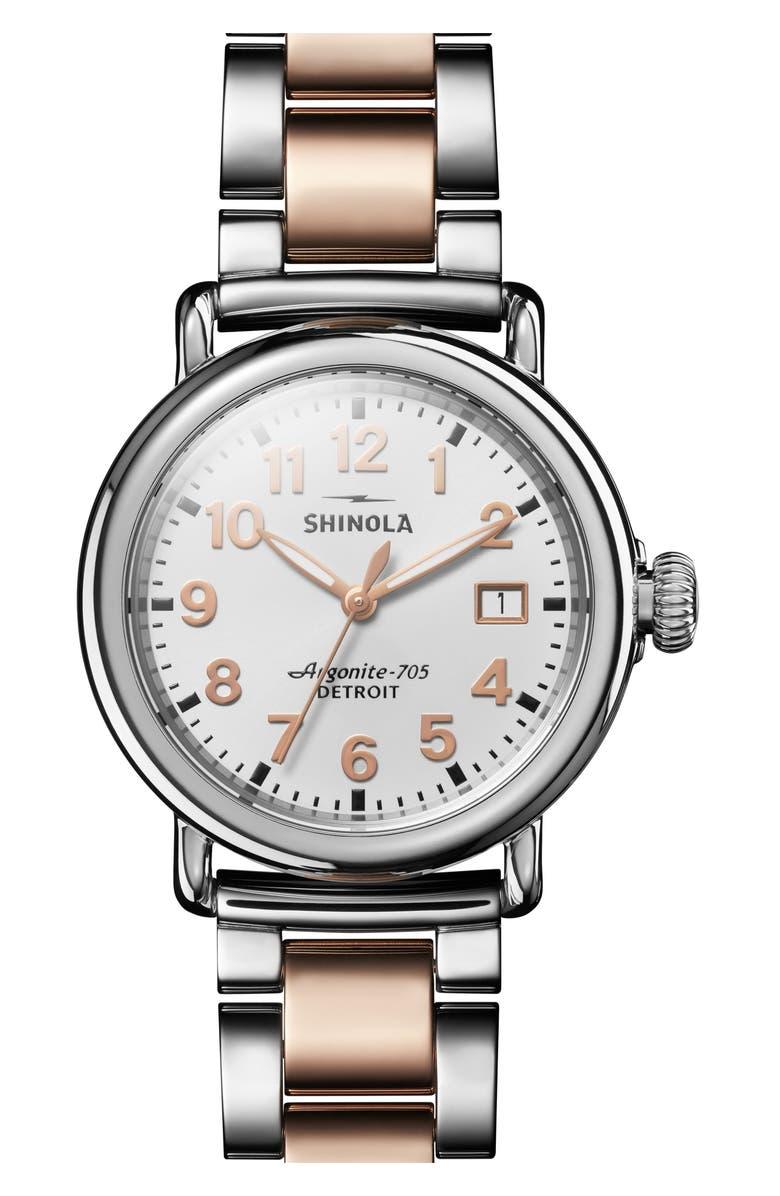 SHINOLA The Runwell Bracelet Watch, 36mm, Main, color, 715