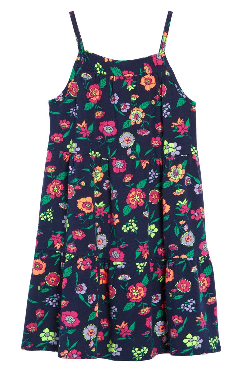 TUCKER + TATE Print Tiered Dress, Main, color, NAVY PEACOAT JUNGLE FLORAL