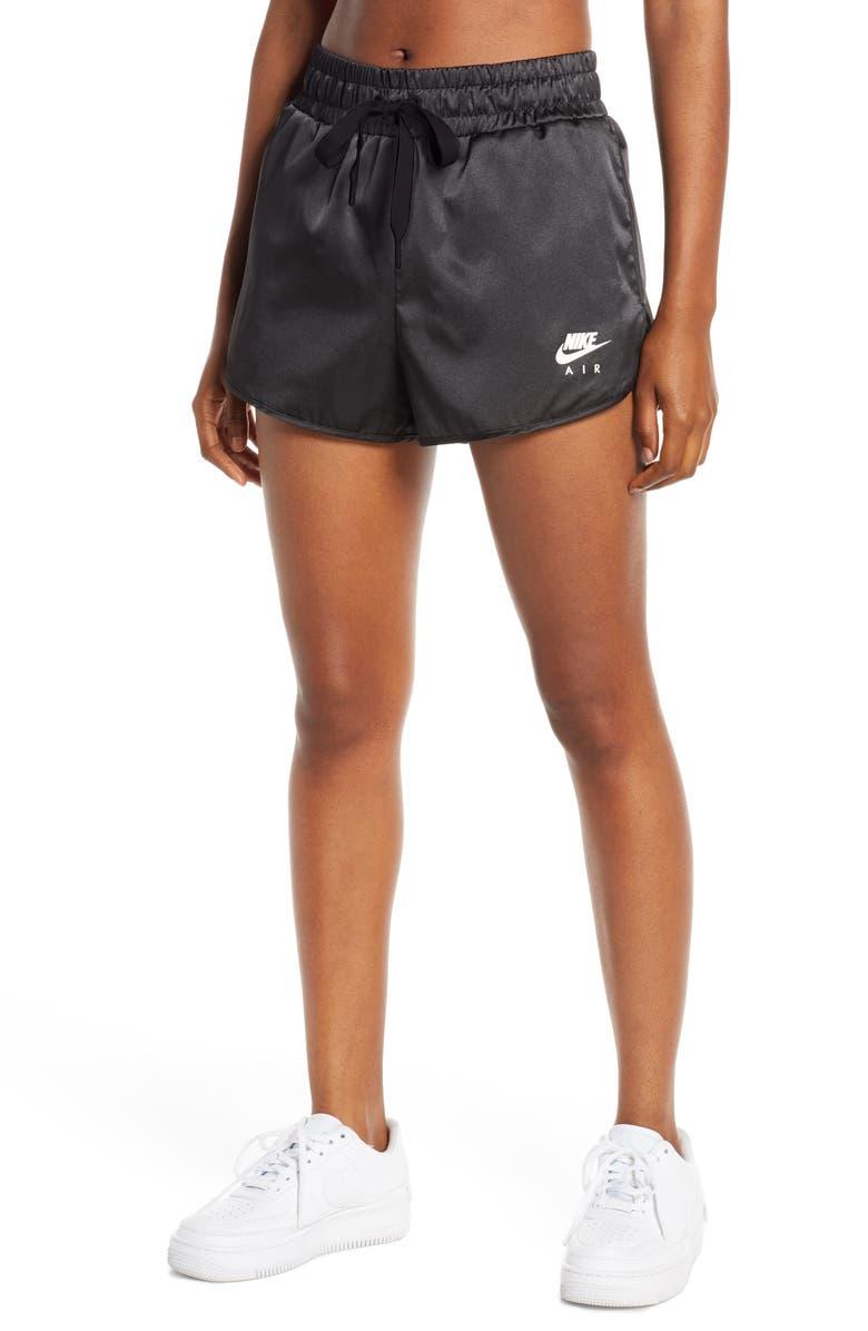 NIKE Air Satin Shorts, Main, color, BLACK