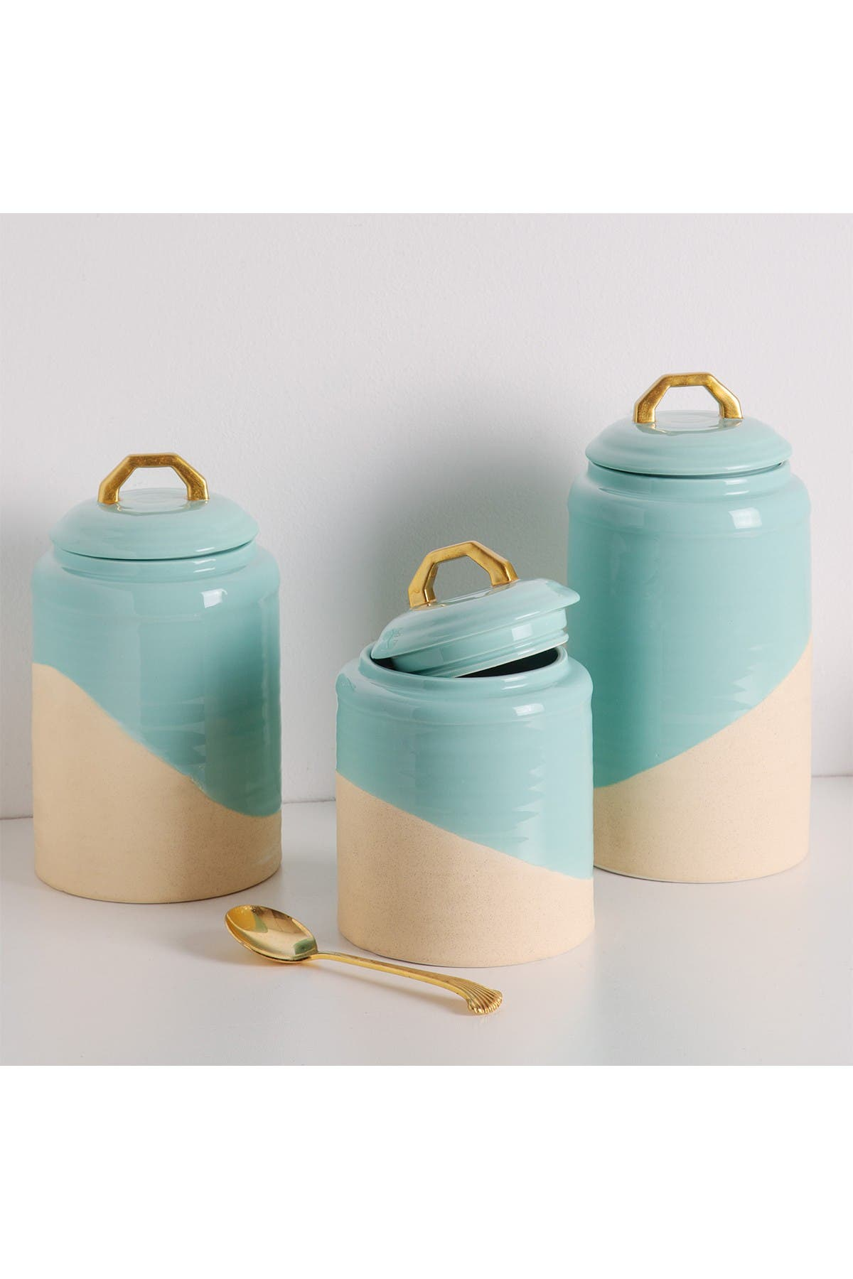 Image of Home Essentials and Beyond 58.8 oz. 2-Tone Turquoise Canister