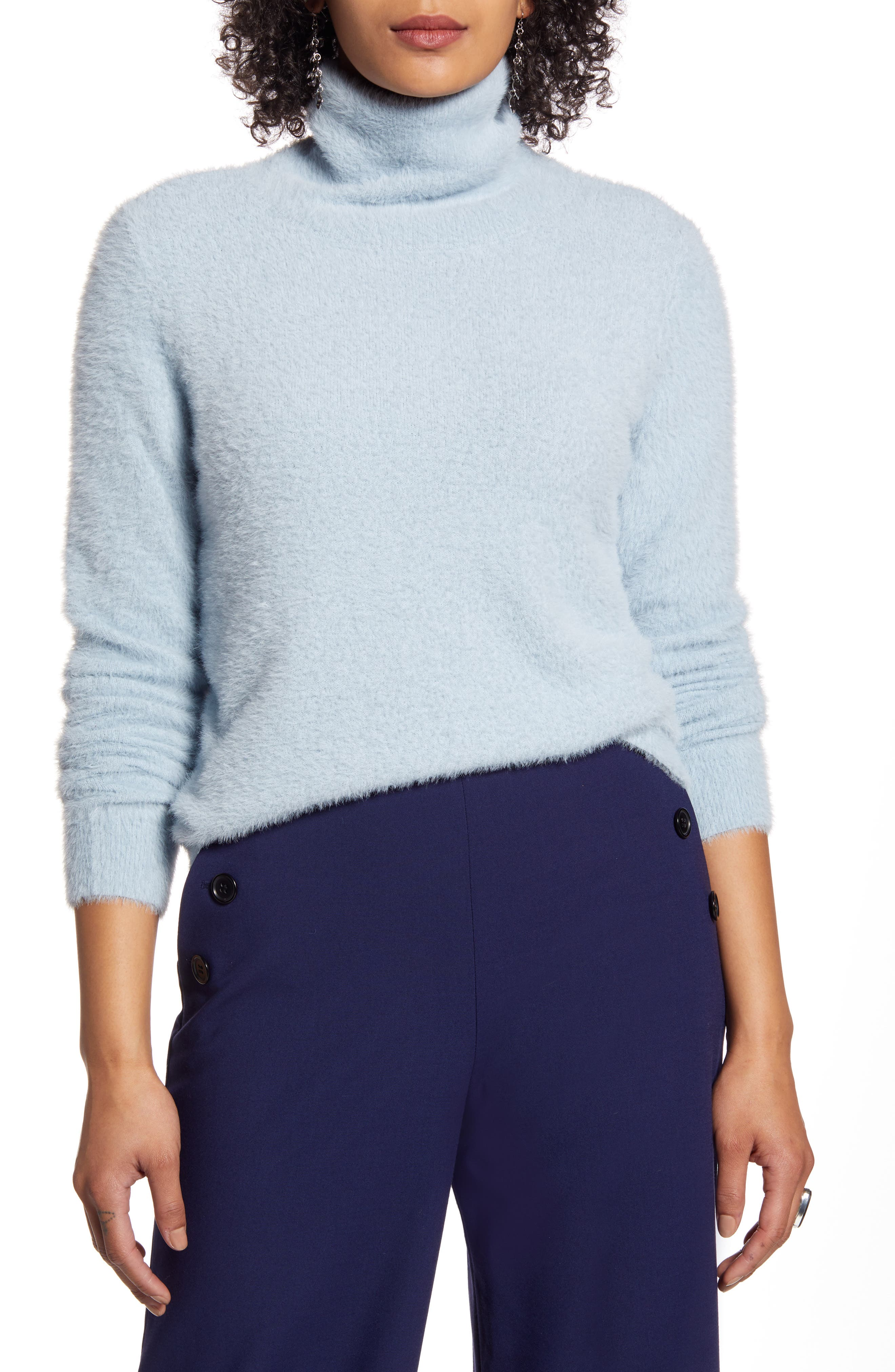 Women's Halogen Fuzzy Turtleneck Pullover