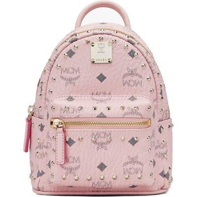 Mcm Mini Stark Stud Coated Canvas Backpack - Pink