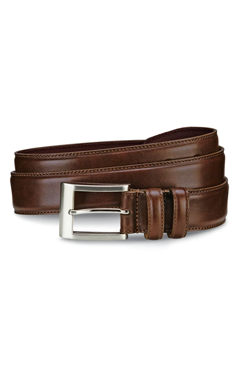 ALLEN EDMONDS Wide Leather Belt, Main, color, COFFEE