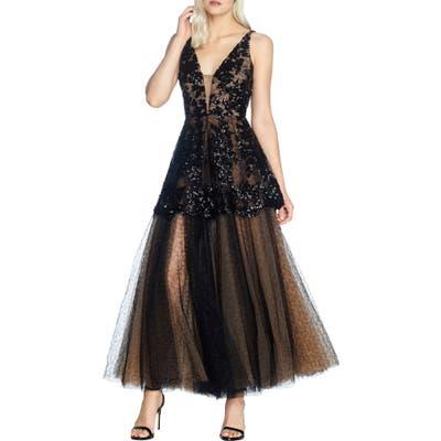 Dress The Population Rachelle Fit & Flare Lace Gown, Black