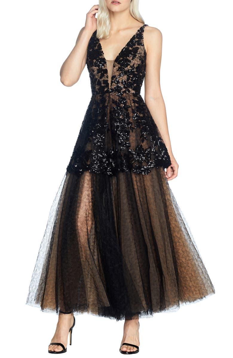DRESS THE POPULATION Rachelle Fit & Flare Lace Gown, Main, color, BLACK-NUDE