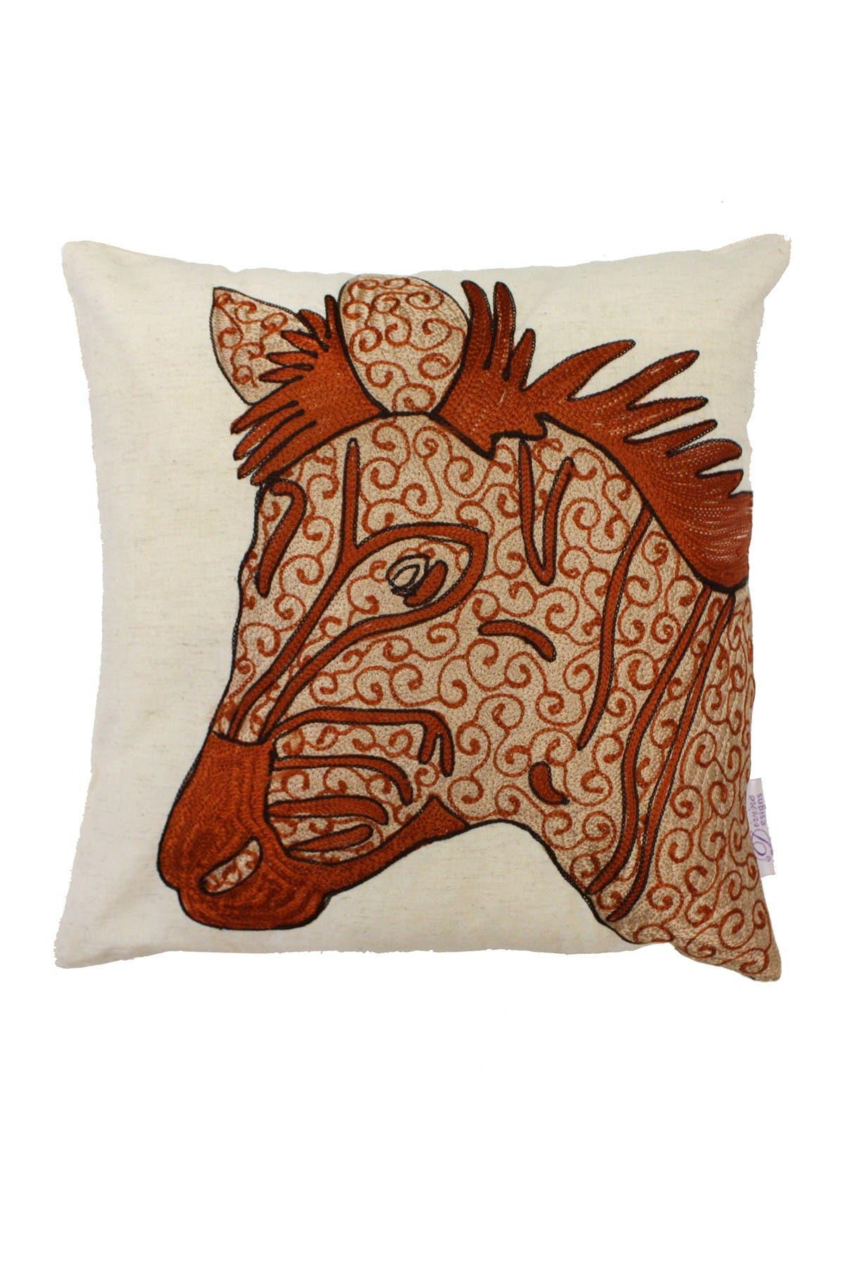 "Image of DIVINE HOME Dori Embroidered Zebra Throw Pillow - 16""x16"""