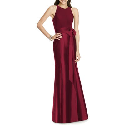Plus Size Alfred Sung Mikado Jersey Bodice Trumpet Gown, Red