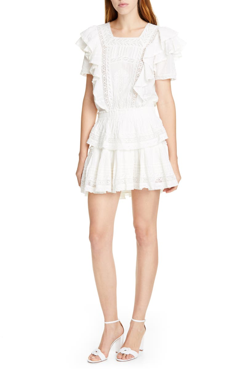 LOVESHACKFANCY Stella Cocktail Minidress, Main, color, ANTIQUE WHITE