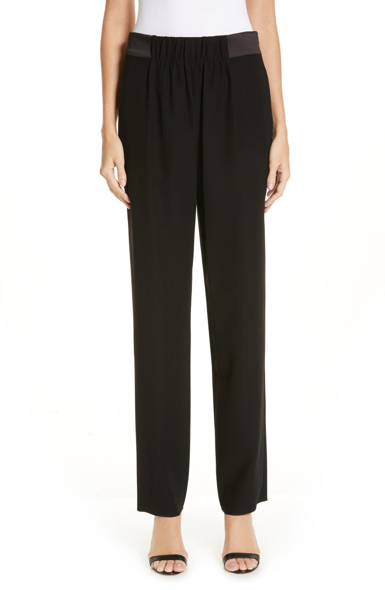 EMPORIO ARMANI Satin Waist Slim Pants, Main, color, BLACK