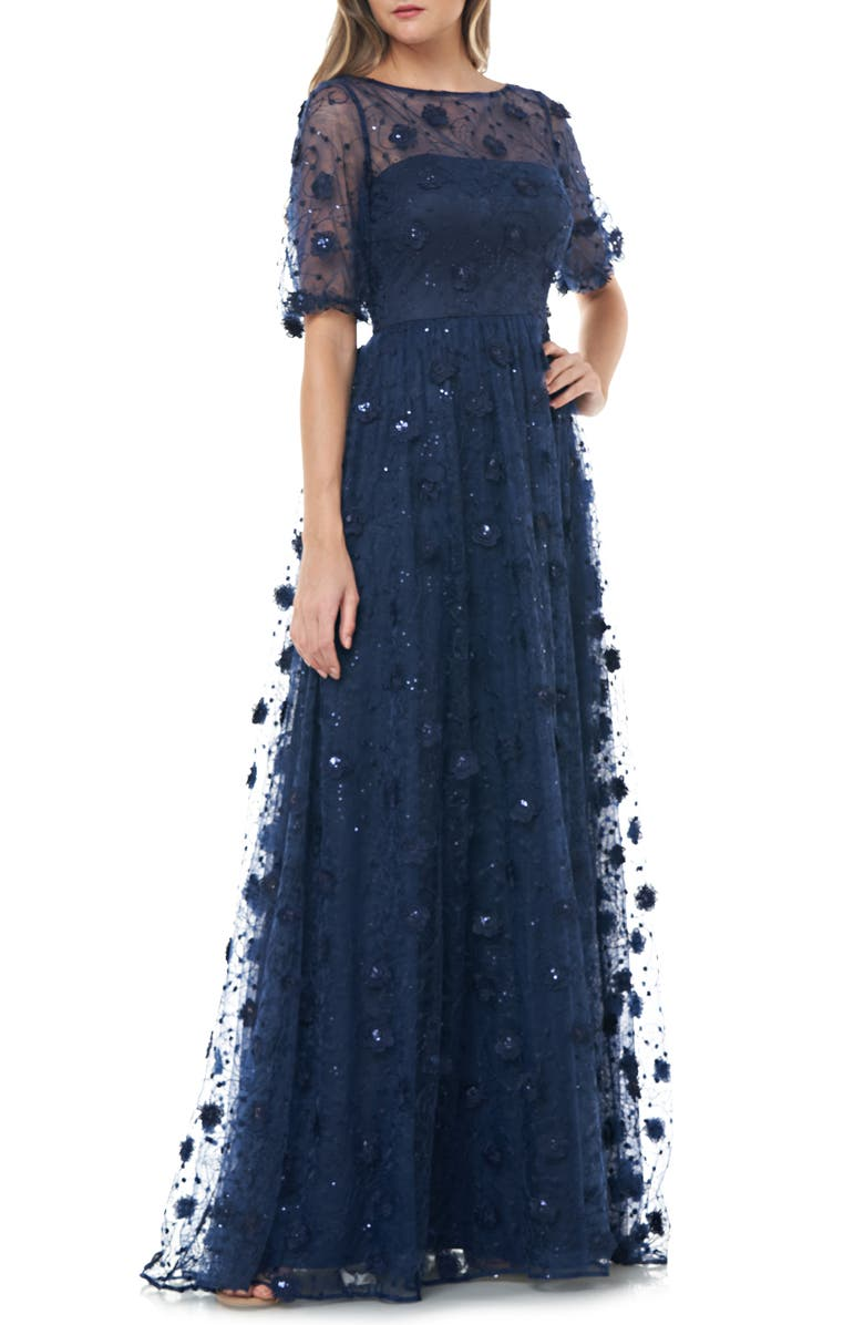 CARMEN MARC VALVO INFUSION 3D Embroidered Lace Gown, Main, color, 400