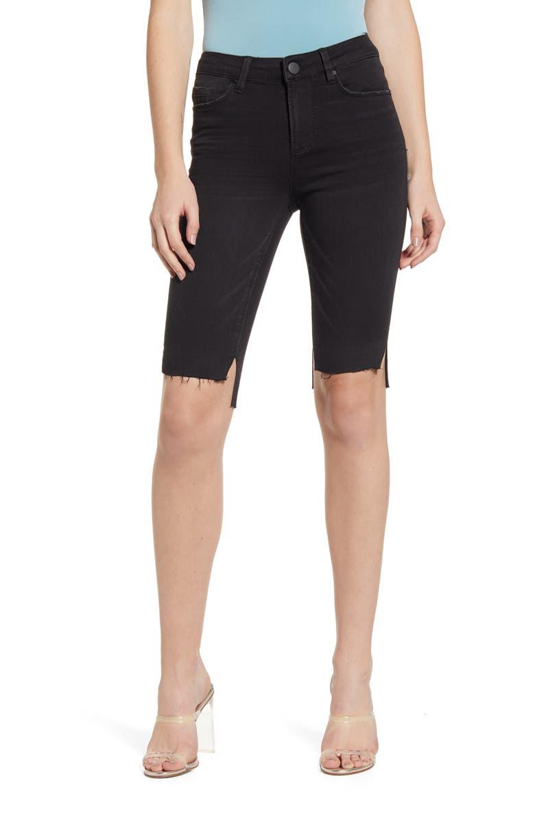 AFRM Step Hem Denim Shorts, Main, color, NOIR