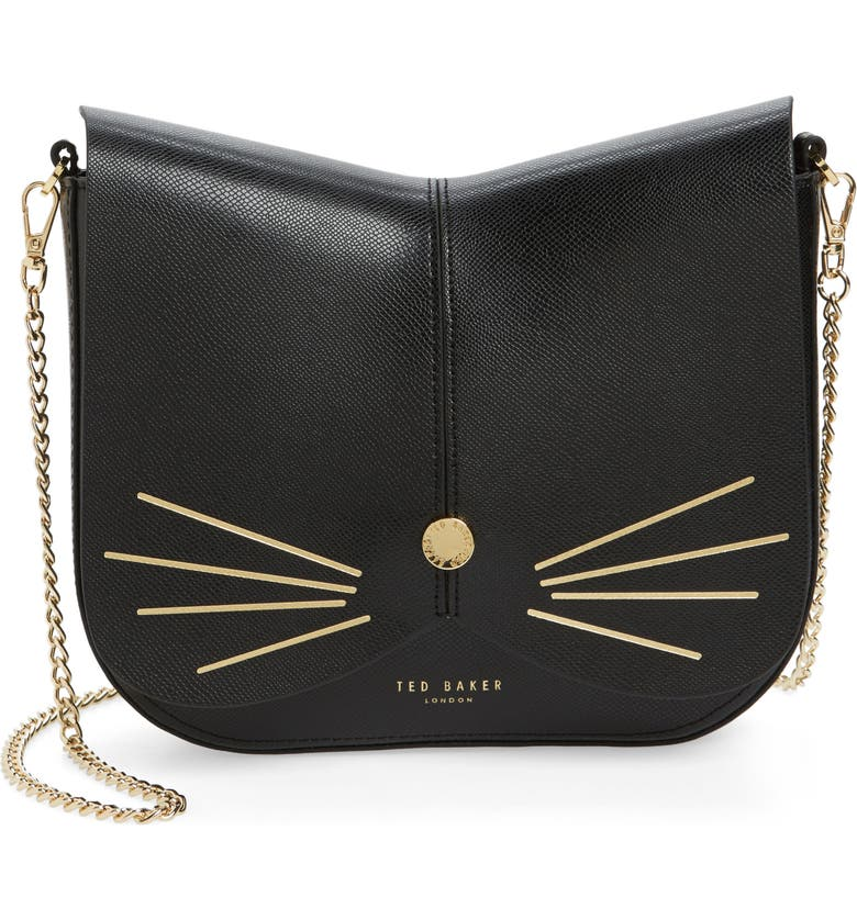 TED BAKER LONDON Cat Leather Crossbody Bag, Main, color, 001