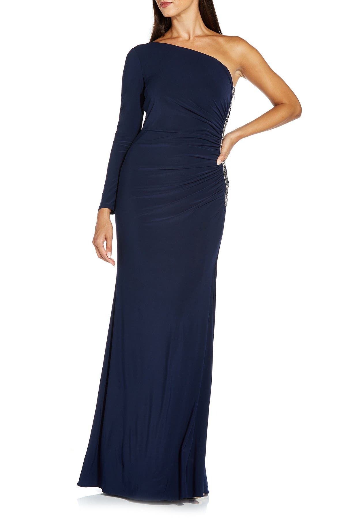 Image of Adrianna Papell One-Shoulder Embellished Gown