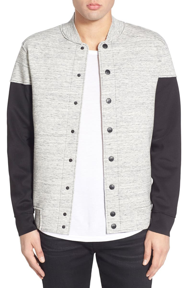 KANE & UNKE Snap Bomber Jacket with Scuba Sleeves, Main, color, Grey