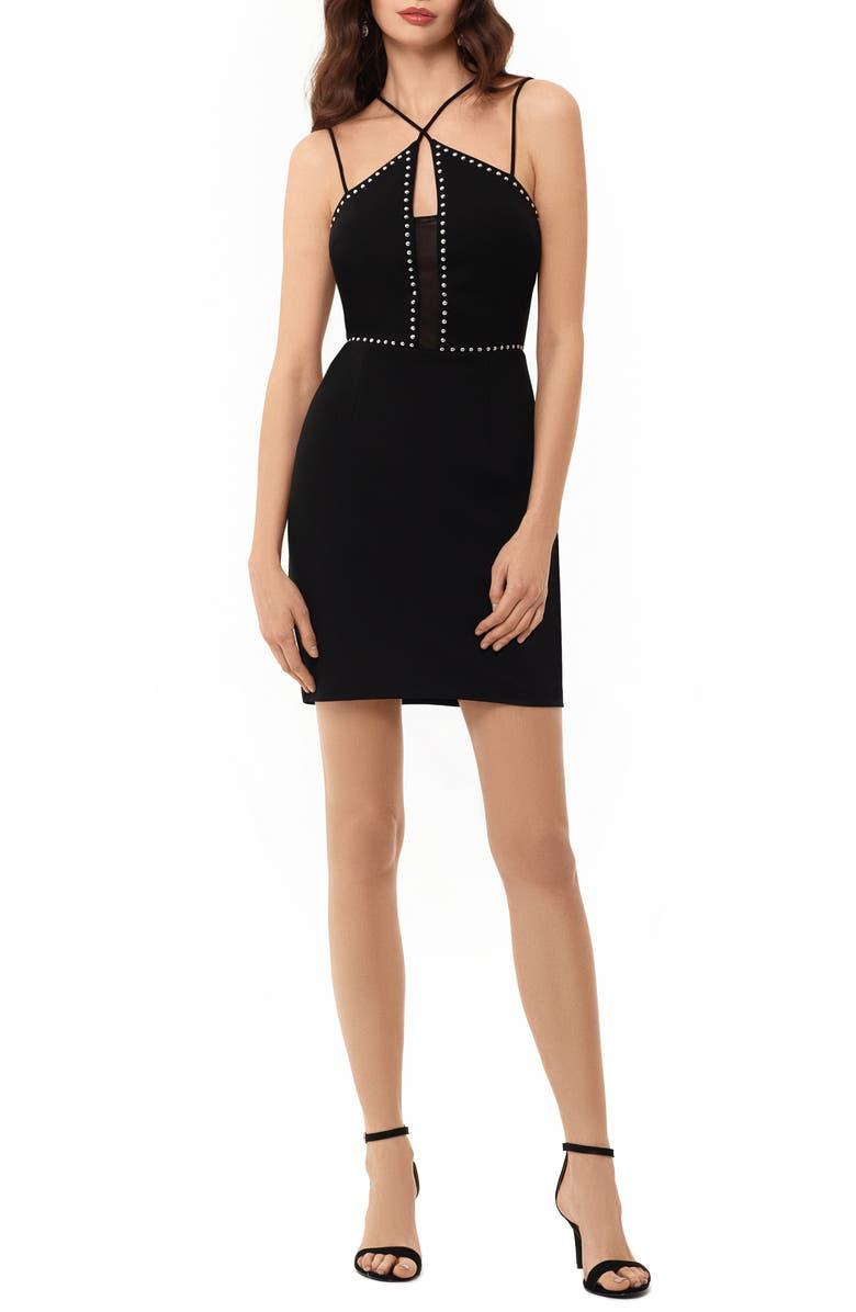 XSCAPE Cross Front Studded Body-Con Dress, Main, color, BLACK