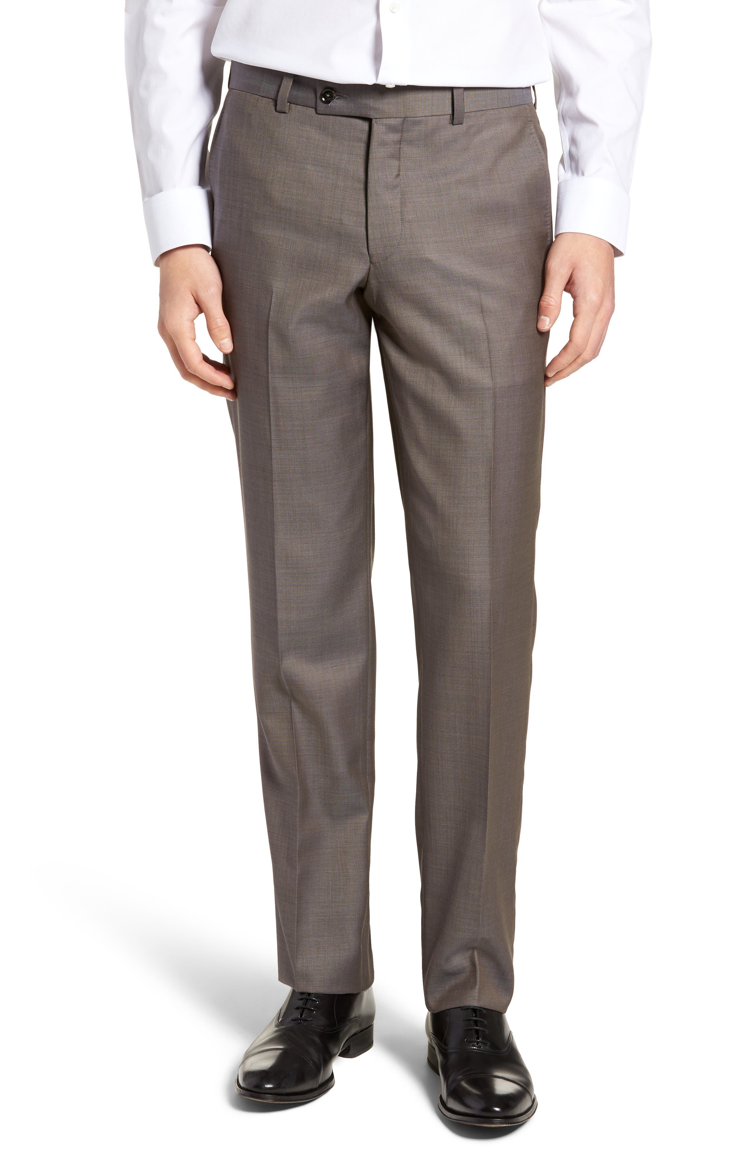 Jefferson Flat Front Wool Trousers, Main, color, MID GREY