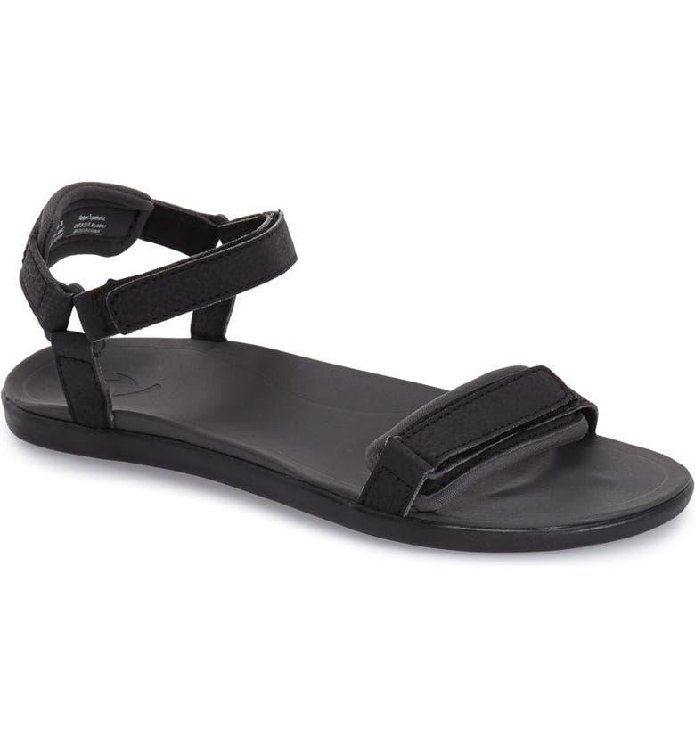 OLUKAI 'Luana' Sandal, Main, color, BLACK FAUX LEATHER
