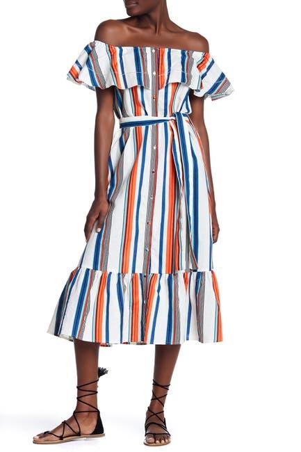 Image of Moon River Off-the-Shoulder Linen Blend Stripe Dress