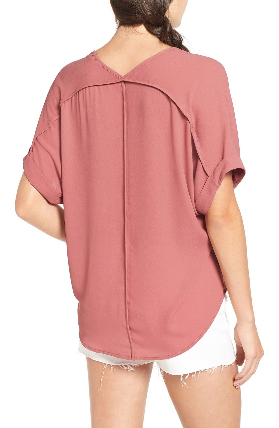 ,                             Lush Cuff Sleeve Woven Tee,                             Alternate thumbnail 169, color,                             653