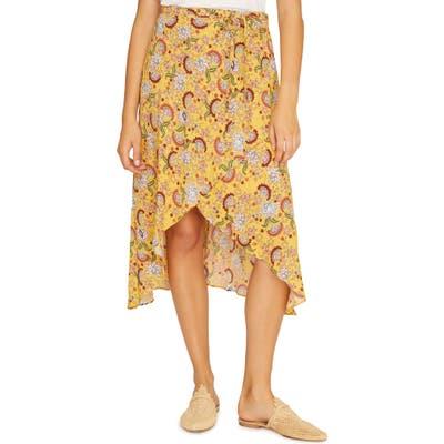 Sanctuary Jamie Faux Wrap Midi Skirt, Yellow