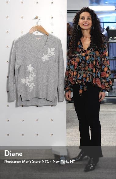 Appliqué V-Neck Pullover Sweater, sales video thumbnail