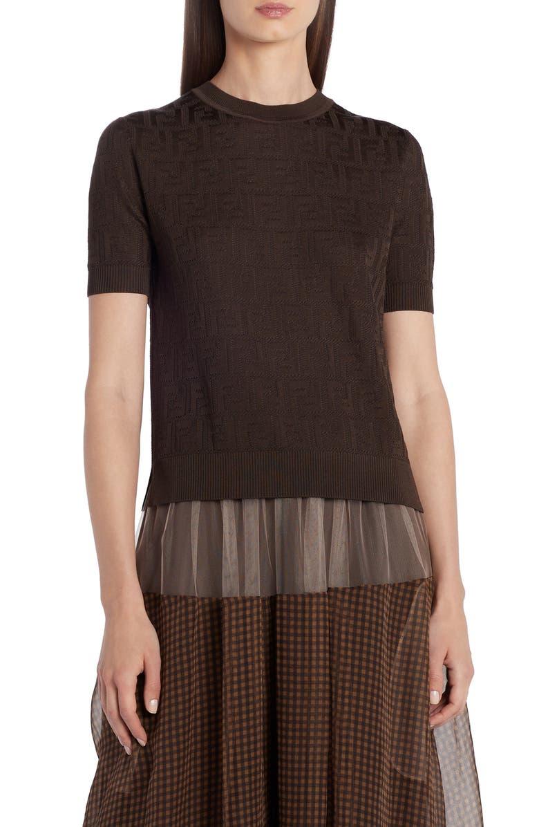 FENDI FF Logo Cotton Blend Sweater, Main, color, F0ZQY EBONY
