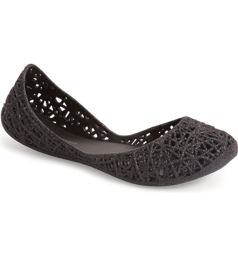 MEL BY MELISSA 'Campana Zig Zag' Flat, Main, color, BLACK