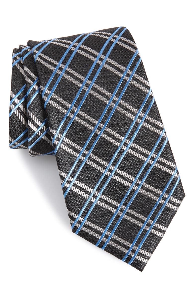 NORDSTROM MEN'S SHOP Georgetown Windowpane Silk Tie, Main, color, CHARCOAL