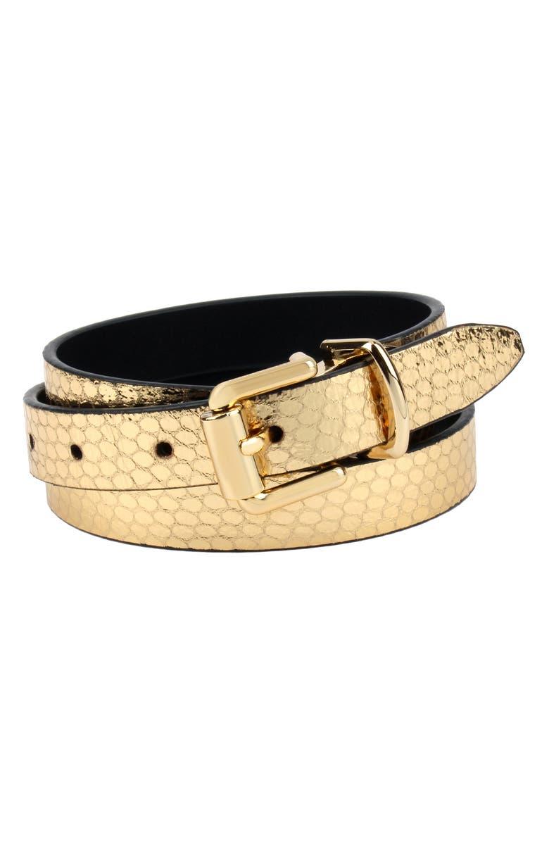 REBECCA MINKOFF Reversible Leather Belt, Main, color, GOLD SNAKE
