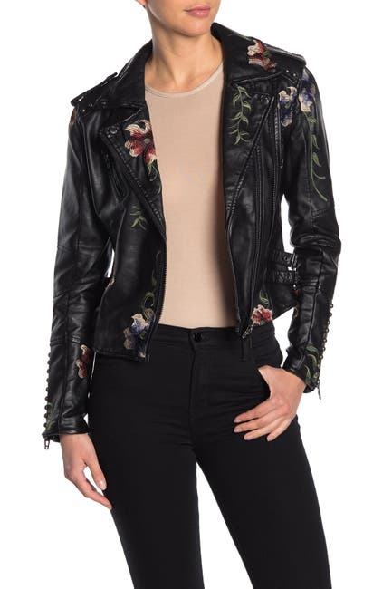 Image of BLANKNYC Denim Faux Leather Floral Embroidered Moto Jacket