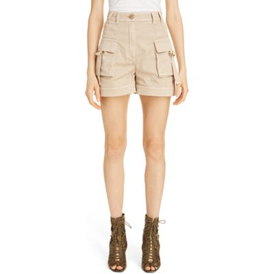 Balmain High Waist Cargo Shorts, US / 40 FR - Ivory
