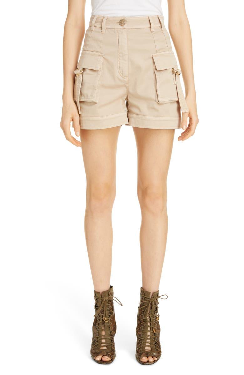 BALMAIN High Waist Cargo Shorts, Main, color, NUDE