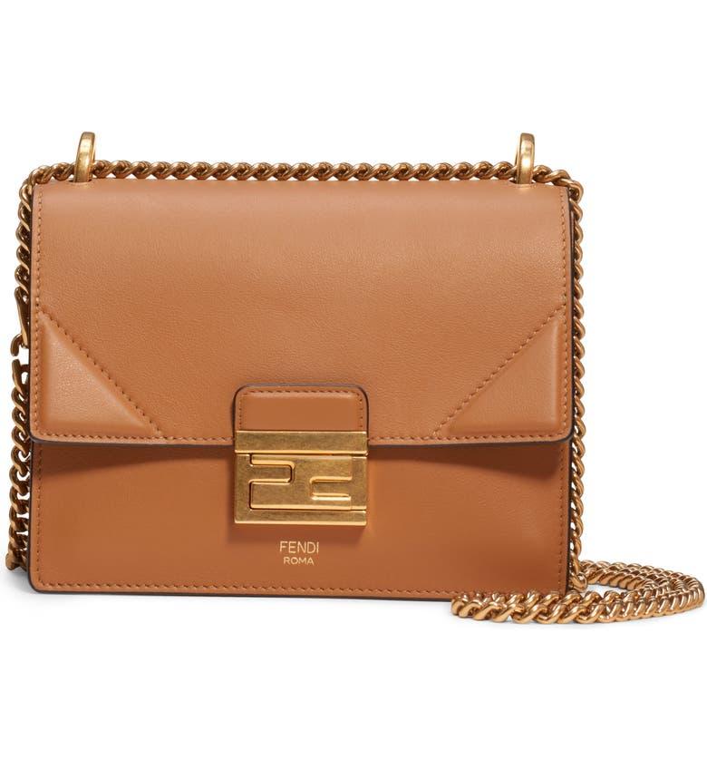 FENDI Small Kan U Leather Shoulder Bag, Main, color, HAZELNUT/ VIBRATO GOLD