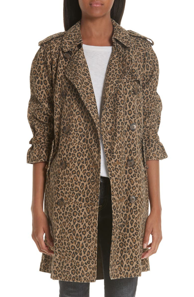R13 Leopard Raglan Trench Coat, Main, color, LEOPARD