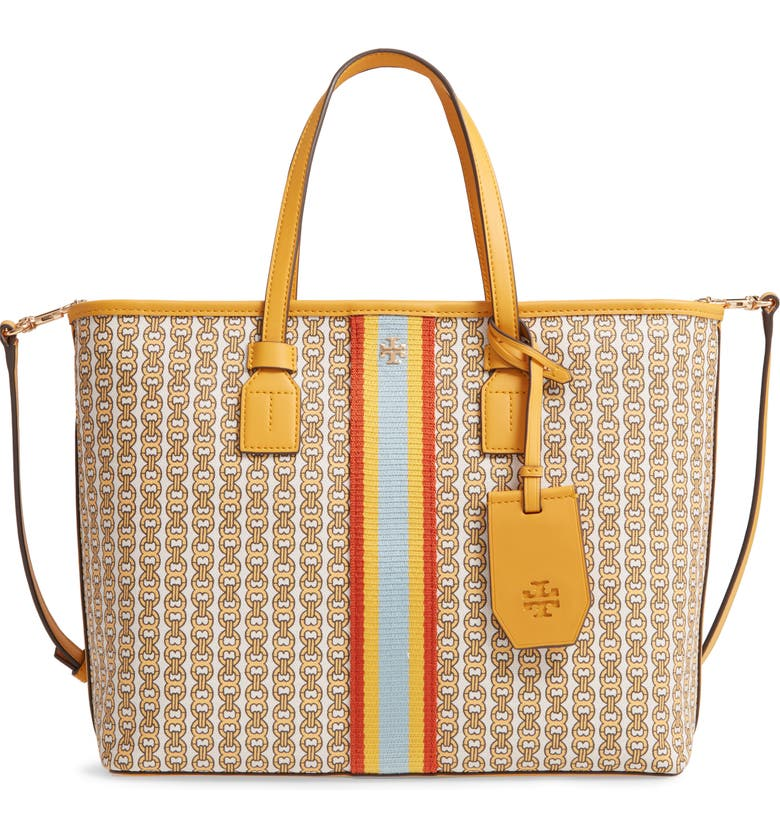 TORY BURCH Small Gemini Link Coated Canvas Tote, Main, color, DAYLILY GEMINI LINK