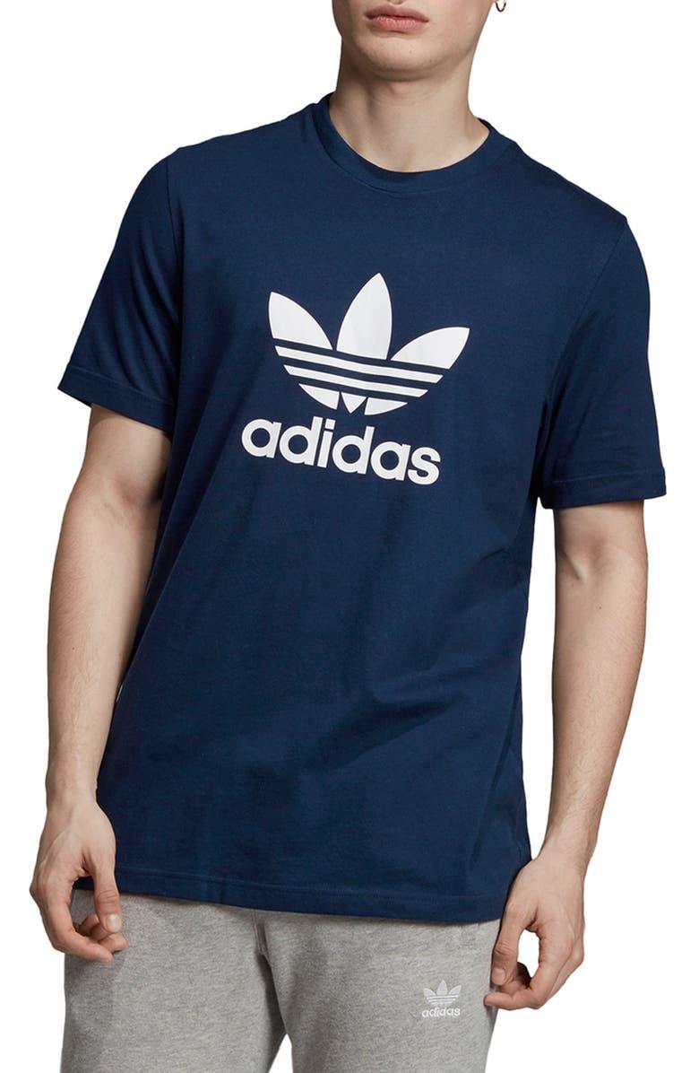 ADIDAS ORIGINALS Trefoil Graphic T-Shirt, Main, color, COLLEGIATE NAVY