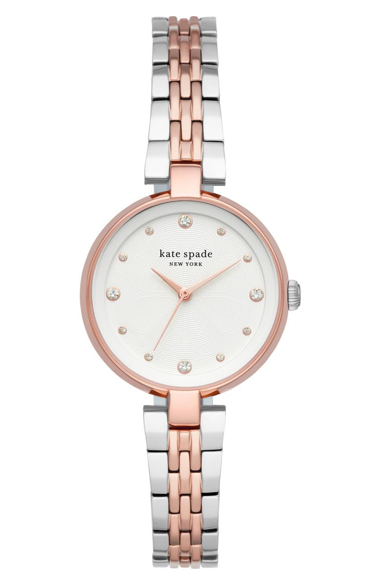 KATE SPADE NEW YORK annadale bracelet watch, 30mm, Main, color, TWO-TONE/ WHITE/ ROSE GOLD