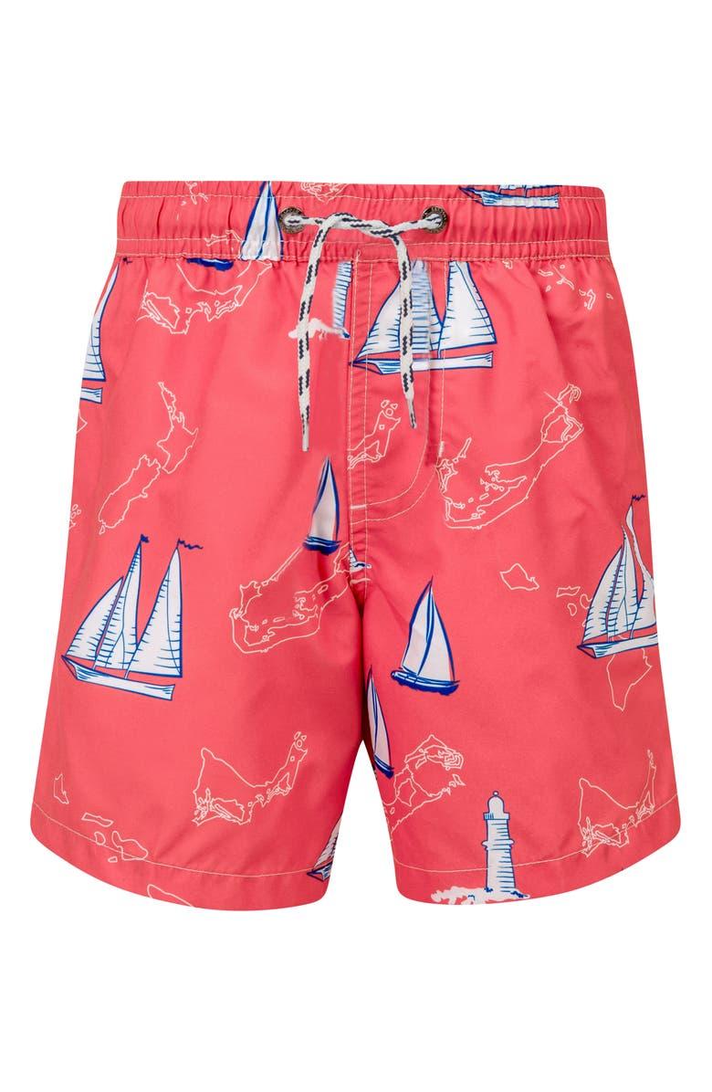 SNAPPER ROCK Island Sail Swim Trunks, Main, color, RED MULTI