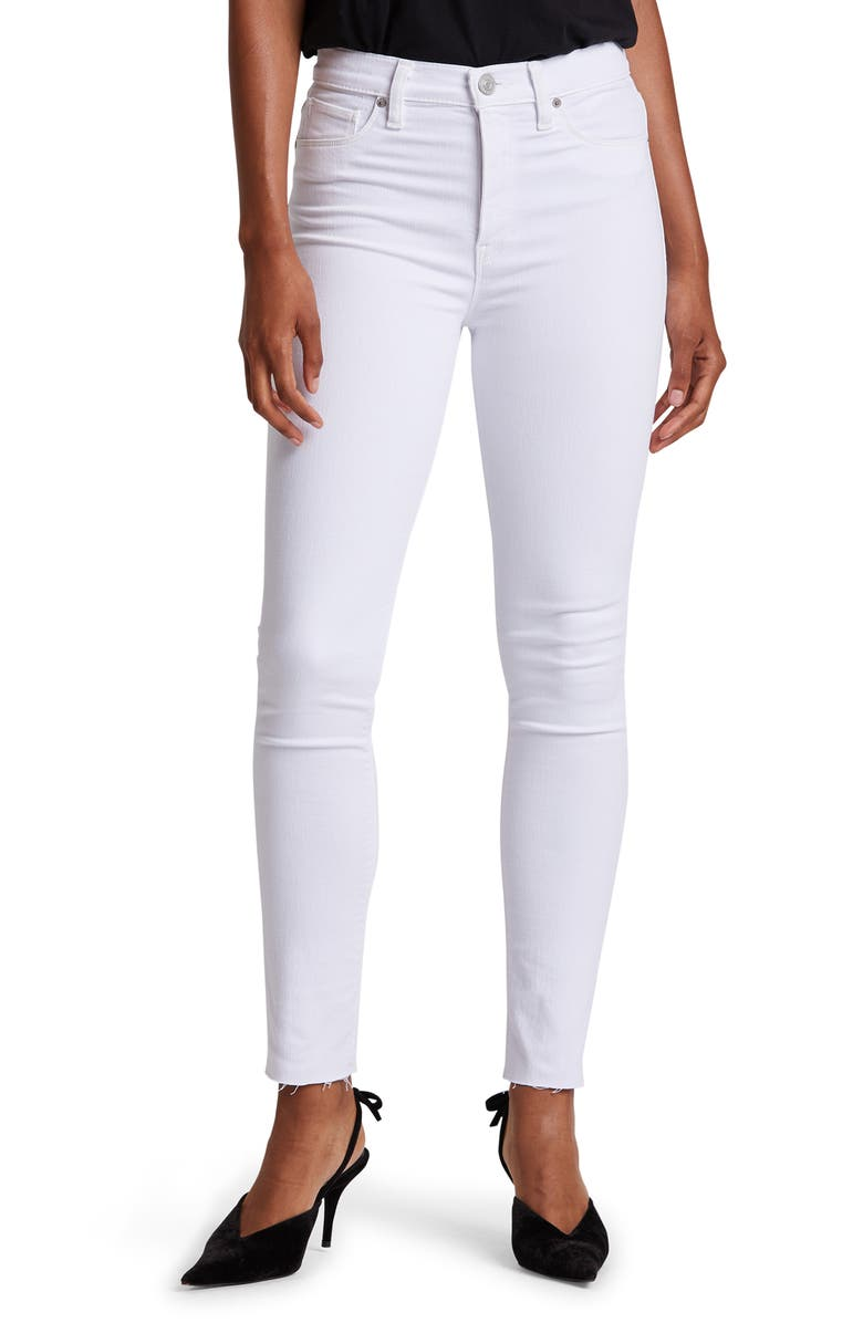 HUDSON JEANS Hudson Barbara High Waist Raw Hem Ankle Skinny Jeans, Main, color, WHITE