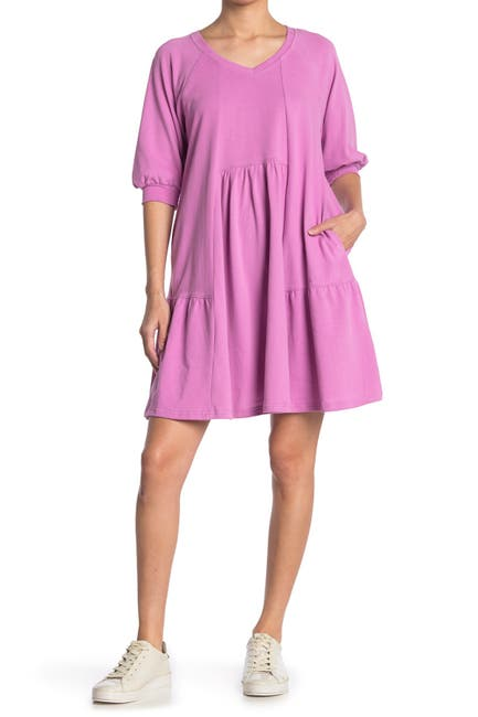 Image of MELLODAY V-Neck Puff Sleeve Babydoll Dress